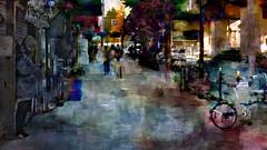 Forget me not (Bamboo Barnes - Artist.Com) Tags: osaka japan greytown street building light shadow blue grey green red yellow photo painting digitalart bamboobarnes girl tree car bicycle