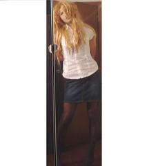 Denim Skirt and Pantyhose (Julia Cool) Tags: pantyhose tights hosiery stockings nylon transgender tgirl heels julia cool collant calze strumpfhosen sissy trap transvestite amateur transgenderpantyhose juliacool highheels
