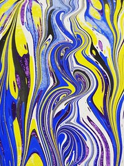 Learned how to marble paper today #BookBinding #PaperLove (sudphoto) Tags: paperlove bookbinding abstract paper marbled blue yellow