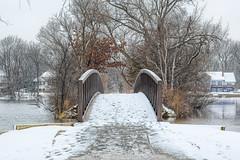 Stark, but beautiful. (Mercenaryhawk) Tags: shady oak lake minnetonka minnesota mn canon eos 5d mark iii 3 24105 hdr trees winter snow water cold cloudy white red bridge path walk walking