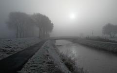 Frozen and misty world (koos.dewit) Tags: groningen harkstede holland koosdewit koosdewitnl thenetherlands frost frozen landscape mist misty sun winter explored 20161207