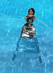 Pool Party 4 (SoakinJo) Tags: imvu wetlook wetclothes soakinjo highheels wetdress clothed pool extremeheels swimmingfullyclothed
