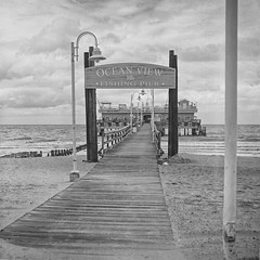 Ocean View Fishing Pier, VA Beach (FieldsFoto) Tags: beach virginia va vabeach kiev ilfordfp4 kiev88cm arsat80mm oceanviewfishingpier arsatc jonfields photographersformularypyropmk fieldsfotocom