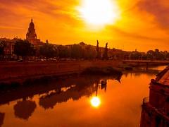 HEAT! ...125 Farenheit (allegorein) (puesyomismo) Tags: orange sun sol rio yellow clouds cathedral catedral murcia nubes heat naranja calor farenheit riosegura allxpressus murcianico murciainterior