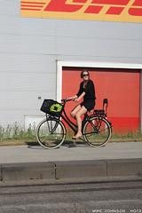 Pretty girl on a roadster (zombikombi1959) Tags: show girl bicycle vw europe european traffic belgium legs roadtrip rushhour antwerp split ontheroad kombi bulli roadtripping splitty 2013 ho13 hessischoldendorf2013