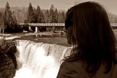 Kakabeka Falls (MPBecker) Tags: park woman ontario water sepia lady canon rebel bay waterfall district meg falls wife thunder provincial xsi kakabeka 450d