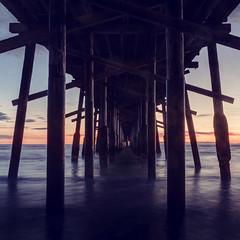 Newport Beach Pier Square (neosmultimedia.com) Tags: ocean california county ca wood sunset orange sun seascape classic film beach vintage square pier sand pacific antique under newport orangecounty balboa peninsula beams