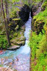 Looking Thru The Narrow Gorge (SKS Photos) Tags: water creek river stream scenic gorge glaciernationalpark