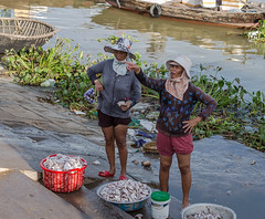 Sorting out the catch (Keith Mulcahy) Tags: morning river landscape boats morninglight fisherman women market vietnam hoian catch fishingvillage canon50mmf12 canon5dmk3 july2013 keithmulcahy blackcygnusphotography ppa7a0 ppd56c