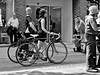 Walk on By . (wayman2011) Tags: street york people urban bw cyclists candid bycicles canon400d