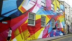 painted facade in Chance Street, Shoreditch (helenoftheways) Tags: uk blue windows red streetart london freeassociation yellow pavement shoreditch fireexit madc chancestreet claudiawalde