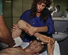wounded in Mostar 1993 copy (Linda Schaefer photography) Tags: hospital shot mostar warvictim warhospital lindaschaeferphotography