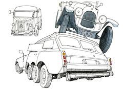 Clermont-Ferrand, L'aventure Michelin (gerard michel) Tags: auto france sketch citroen michelin clermontferrand croquis millepattes