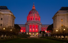 Red (zoxcleb) Tags: sf sanfrancisco california longexposure red canon evening unitedstates cityhall hayesvalley aidsday civiccenter canon5dmk3