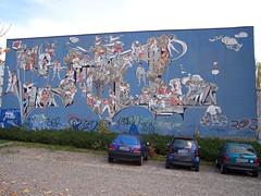 Wandbild Turnhalle Frauenberg, Nordhausen (n0core) Tags: abandoned plattenbau ruine ddr platte nordhausen schule lostplaces frauenberg