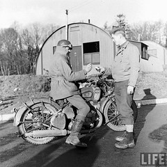 AEF US Army troops arrive at their base, Northern Ireland, 1942 (G.I N.I) Tags: ww2 motorcycle northernireland 1942 gi usarmy bsa aef bsam20