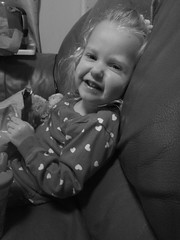 black & white portrait - Evie giggling (Ambernectar 13) Tags: night evening blackwhite december child evelyn 1yearold evie thursday essex chelmsford giggling blancetnoir projectflickr 23monthsold blackwhiteportrait 2013