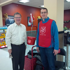 Monte pitches in by manning a Salvation Army kettle in Wallaceburg.