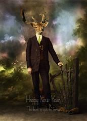 Happy New Year (Martine Roch) Tags: new art animal year digitalart 2014 martineroch animalincostume newyear2014