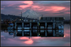 Sunset Over the Marina (Ernie Misner) Tags: washington nikon mountrainier tacoma hdr d800 portoftacoma photomatix downtowntacoma erniemisner awesometacoma