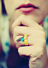 Bohemian (SOMETHiNG MONUMENTAL) Tags: leather fashion yellow nikon hand handmade turquoise feather jewelry lips ring copper bohemian d60 somethingmonumental mandycrandell