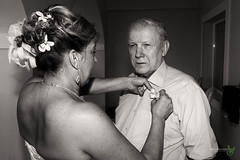 Jill and her father (Rock Steady Images) Tags: wedding vacation blackandwhite bw canon eos bride costarica father celebrations 7d handheld 200views corsage 50views topaz riu guanacaste 25views niksoftware bypaulchambers speedlite430exii canonef2470mmf28iiusm lightroom4 rocksteadyimages