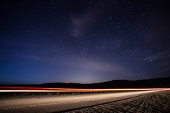 Night Ride (melfoody) Tags: california road longexposure car night rural stars explore lighttrails truckee milkyway explored
