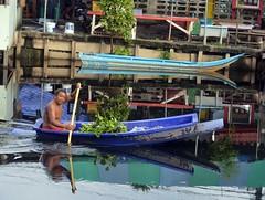 man in a boat (the foreign photographer - ) Tags: sep182016nikon man paddling boat water hyacinth khlong thanon bangkhen bangkok thailand nikon d3200