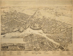 Bird's eye view of the city of Ottawa (Ontario) (Toronto Public Library Special Collections) Tags: ottawa birdseyeview hermanbrosius lithograph roads buildings coatofarms inset parliamentbuildings
