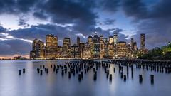 New York City Skyline (hjuengst) Tags: newyork sunset skyline longexposure clouds eastriver brooklyn