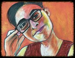 Cline (Gila Mosaics n'stuff) Tags: portrait art artist prismacolor pencil portraitparty jkpp glasses hand