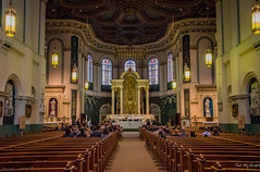 2016 - CPH-NYC Cruise - Canada, St. John's - Basilica of St. John The Baptist - 2 of 3 (Ted's photos - Returns 23 Sept) Tags: 2016 cphnyccruise canada cropped nikon nikond750 nikonfx stjohns tedmcgrath tedsphotos vignetting basilicaofstjohnthebaptist basilica church churchinterior aisle pews seating seated seat thenaveandsanctuary stainedglass
