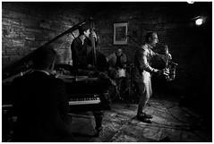 Bandleader #2 (Christoph Schrief) Tags: frankfurtammain fabrik jazzfestival janpraxquartet janpraxsax martinsrspiano michaelmischldrums tilmanoberbeckbass jazz leicadlux109 digital silverefex bw sw