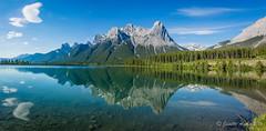 Canmore pano (NettyA) Tags: 2014 alberta banffnationalpark canada canadianrockies canmore northamerica sonynex6 lake landscape mountains pano panorama reflection travel reservoir halingpeak