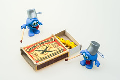 Playing with matches (PaulHoo) Tags: still life humor fun miniatures blue nikon macro matches lego fire play people comic