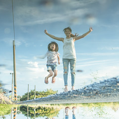 Family | Inverted Image | Jumping, Jumping! (藍川芥 aikawake) Tags: jump motheranddaughter mom moment freeze child family chinesepeople chinesegirl water reflection mirror girls women female taiwanese outdoor nature emotion happy enjoy life country countryside 母女 跳曜 戶外 田邊 反射 鏡面 倒影 invertedimage invertedreflectioninwater ricohgr taiwan autumn