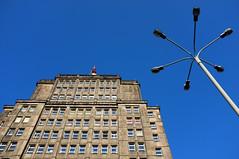 Sky (RafalZych) Tags: building architecture tv station skyscraper lamps street blue sky view up look fuji fujifilm x100 lodz d polska poland narutowicza architektura odzi