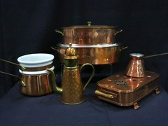 HOUSEHOLD:  Large selection of copper cookware.