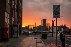 Sky On Fire (h_cowell) Tags: sunset urban sky colour ablaze skyline town pavement sidewalk macclesfield cheshire uk panasonic gx7 street road streetphotography appicoftheweek
