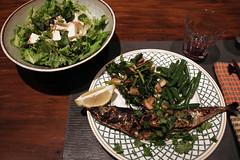 Mackerel Dinner (meg williams2009) Tags: spanishmackarel unionsquaregreenmarket dinnersalad broiledfish vegetablesidedishes