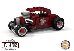 MotorCity Ford 1932 V8 Coupe - Lucky Eddie's Speed Shop (lego911) Tags: ford 1932 1930s classic v8 coupe lucky eddies speed shop custom kustom usa america auto car moc model motorcity lego 911 ldd render cad povray lugnuts challenge 109 deuceswild deuces wild lego911 foitsop