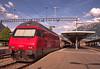 "SBB Swiss Federal Railways Class Re 460 electric No. 460 061 ""Wiggertal"" at Interlaken Ost on 11 Aug 2016 (Trains and trams eveywhere) Tags: sbb re460 marssu electric locomotive interlaken passenger slm krauss sr2 abb switzerland trains railroad railway swissfederalrailways"