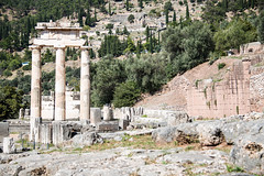 Delphi - Tholos of Temple of Athena Pronaea Rebuilt Columns 5 (Le Monde1) Tags: greece delphi greek sanctuary athena lemonde1 nikon d800e unesco worldheritagesite archaeological site roman ruins gods tholos templeofathena pronaea fluted columns