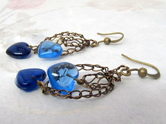 Blue hearts n' Bronze wire (cindycreativecrochet) Tags: blue glass bronze hearts wire handmade unique oneofakind crochet jewelry canadian earrings saskatchewan cindyscreativecrochet