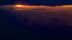 Flying Sunset (OzGFK) Tags: ocean sunset sea cloud water night clouds plane flying nikon singapore asia korea nikkor windowseat d800