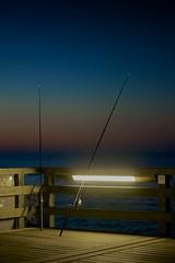 Nachtangeln (hakkehorn) Tags: white black landscape deutschland abend fishing meer alt sony balticsea ostsee angeln boltenhagen a55 dämmerung nikfilter