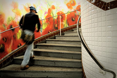 Une explosion de coquelicots au métro (Paolo Pizzimenti) Tags: paris film rouge paolo métro olympus instant dxo zuiko escalier homme mouvement abbesses pellicule coquelicots