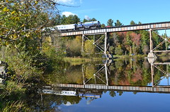 Reflected Alco smoke (Michael Berry Railfan) Tags: quebec eastman easterntownships mlw mma montreallocomotiveworks m420tr orfordexpress montrealmaineatlanticrailway eastmantrestle oex26
