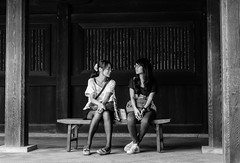 Chat on a bench (mcdorians) Tags: bw japan blackwhite shibuya japaneseschoolgirls meijishrine shibuja  japaninbw  meijijing kriiip