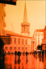 all souls - london (chirgy) Tags: people reflection london wet pointy spire fed2 conical redoctober allsoulschurch nbh redscale красныйоктябрь industar2650mm128 iccdro2013